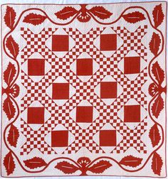Red and white Chain and Block.  Maker unknown.  1860-1880.  77 x 81 inches.