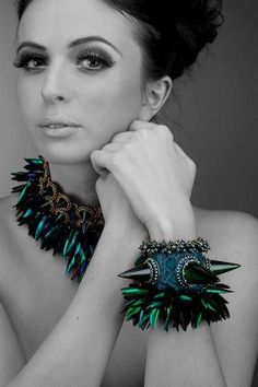 I absolutely love the work and art by Laura McCabe . Beetle Wing choker and cuff bracelet  http://www.lauramccabeart.com