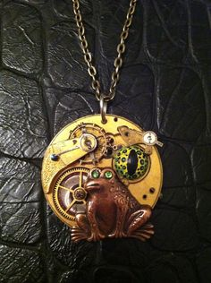 The frogs eye necklace - steampunk frog real vintage gears and hand painted frog eye on Etsy, $25.00