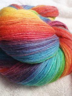 QUICK!  someone send me $50 AUD  rainbow gradient dyed merino/silk handspun lace
