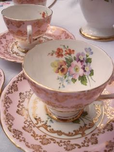 <3 pretty vintage teacups, pink roses, tea time, teas, chocolate cups, coffee cups, vintage china, teacupstea set, tea cup