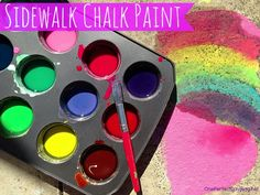 DIY sidewalk chalk paint. Love the bright colours and its so simple to make with just three household ingredients. Such a fun outdoor activity for kids. Perfect for summer.
