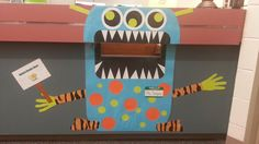 Book Drop Monster for the library book return drop monster, library books, librari idea, school librari, librarian, librari book, library book return, library book drop