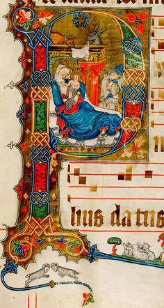 """P"". Graduale oesa.  Koln 1330-35. Aagauer Kantonsbibliothek. WettFm0001_027r. by tony harrison, via Flickr"