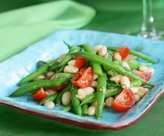 Green bean, chickpea, and tomato salad - ingredients: 1/3 cup green beans (trimmed), 2/3 cup coarsely-chopped tomato, 1/4 cup thinly-sliced red onion, 3 tbsp feta cheese crumbles, 3/4 cup garbanzo beans (chickpeas, rinsed and drained), 1 tbsp EVOO