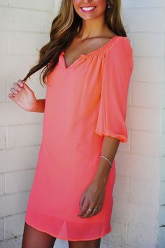 Coral neon summer dress- I am in love! This makes me want summer so bad!