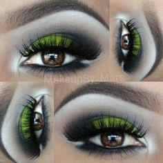 Neon green dramatic eyeshadow #vibrant #smokey #bold #eye #makeup #eyes