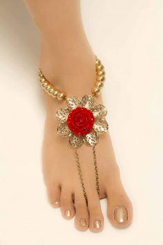 Metal red-golden Anklet Red Rose Anklet | For More www.prafful.com