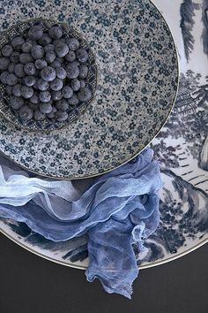 blue plates, blueberries- pretty
