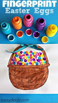 Fingerprint Easter Egg Craft (w/ Free Easter Basket Printable)  #Easter Craft for Kids | http://www.sassydealz.com/2014/03/fingerprint-easter-egg-craft-free-basket-printable.html