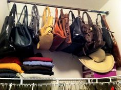 Purse Storage Solution: Tensible shower rod and metal curtain rings.