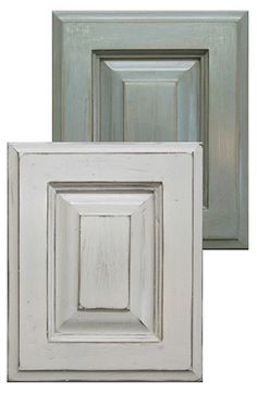 Chalk Paint® cabinet doors.  Distressed and then waxed with Annie Sloan Soft Clear and Dark Wax