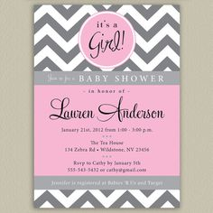 Chevron Printable Baby Shower Invitation with by doubleudesign, $16.00