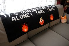 "Geeky Zelda 8-bit couch throw blanket ""It's dangerous to go alone..."" 