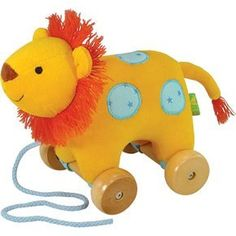 """Rich Frog Pull Toy Lion by Rich Frog. $27.49. Pull Toy on Sturdy Wooden Wheels. Encourages Developmental Skills. 8"""" Lion Plush. Rich Frog Pull Toys are designed for children ages 1.5 to 3 years old. At this age, children are beginning to refine their motor skills and find themselves drawn to toys that involve pulling and manipulation. As the child begins to walk and become more mobile, they can pull around their new found friends for plenty of fun and entertainment!"""
