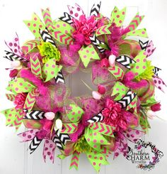 Deco Mesh Spring Summer Wreath Lime Green Hot Pink Door Wreath by www.southerncharmwreaths.com $124 #decomesh #wreath #spring