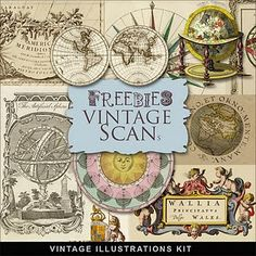 download Freebies Vintage Geographical Illustrations Kit from farfarhill.blogspot.com