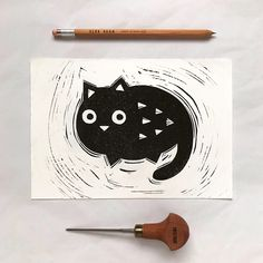 Hand printed lino cut cat. #printmaking #linocut #cat #blockprint