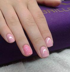 pink -  glitter- nail art #nailart
