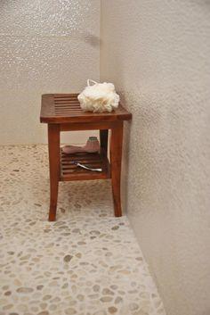 Master bath White Pebble Tile Bathroom Flooring - Pebble Tile Shop