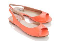 Mango - Peeptoe Flats peepto slingback, neon peach, fiebig mango, mango patent, slingback flat, patent peepto, flats, peepto flat, shoe