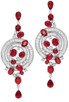 White gold, ruby, and diamond circular earrings by Bapalal Keshavlal