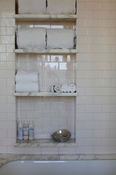 subway tile and carara bathroom built-in wall for tub/shower in main bath