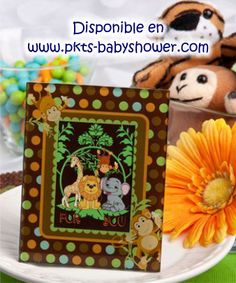 frames, place cards, jungl critter, monkey design, favor
