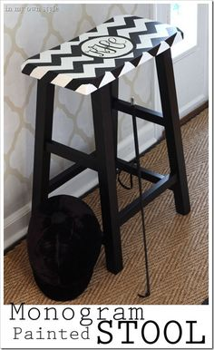 DIY painted Monogram stool. Full step-by-step photo tutorial on how to make your monogram on your computer.  Walmart stool