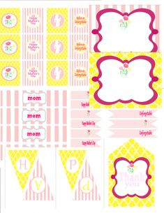 """Mother's Day - Free Printables - party circles, favor tags, food labels, drink flags, water bottle labels, a """"Happy Mother's Day"""" banner"""