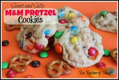 Sweet and Salty M & M Pretzel Cookies!  So puffy and soft with both the sweet and salty!