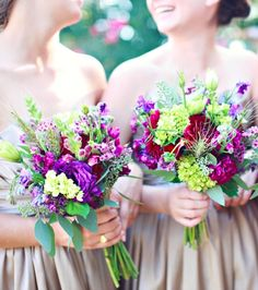 unique purple and green bouquets // Photo by j.woodbery photography, via http://theeverylastdetail.com/2013/10/09/fall-purple-champagne-alabama-wedding/