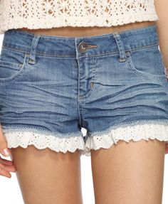 lace-trim shorts: Did thid but if I do it again I will defintely remember to cut my shorts shorter than I want them since the lace adds an extra inch or so.