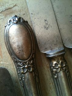 French antique 1800s silver knives