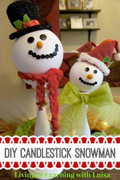 DIY Candlestick Snowman