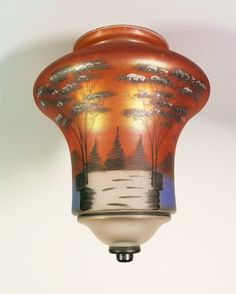 Antique Hand Painted Iridescent Glass Ceiling Light Shade Painted Shade - Found on Ruby Lane $225.00