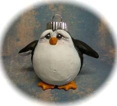 polymer clay penguin, polym clay