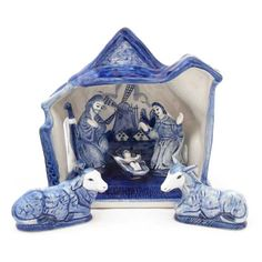 Delft Nativity Set with windmill in background!