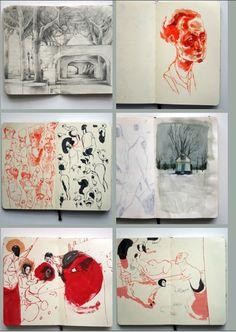 Lars Henkel Amazing Sketchbooks, Artists Sketches Book, Interesting Sketchbooks, Art Journals, Artists Sketchbooks, Artists Book, Sketchbooks Ideas, Illustration Art, Lars Henkel