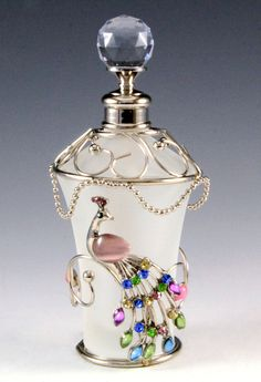 NEW MULTICOLOR PEACOCK PEARL FLORAL CRYSTAL DECORATIVE GLASS PERFUME BOTTLE