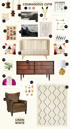 courageous cutie nursery inspiration board- probably my absolute favorite nursery board ever made.  I LOVE arrows, natural touches and modern elements.  Switch out that leather chair and it could be for a boy or girl.  Love it!
