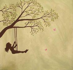 Painting Silhouette Girl Swinging