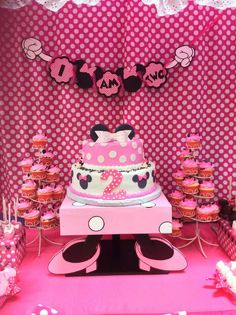 Cute cake at a Minnie Mouse Birthday Party!  See more party planning ideas at CatchMyParty.com!