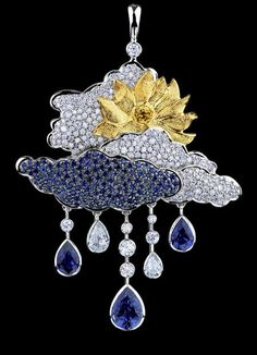 Jewellery Theatre CLOUDS PENDANT Ref: R_4_300 WYP13 18K white gold  195 diamonds 1,86-1,88 ct 55 yellow diamonds 0,17-0,19 ct 137 blue sapphires 3,89-3,92 ct