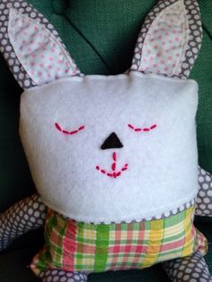 Easter Bunny Plush Animal in Happy Plaid by lollipopsnthings