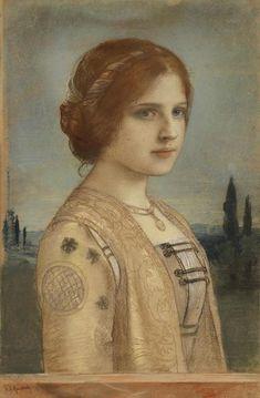 Portrait of a young woman-F.A.von Kaulbach source: fleurdulys