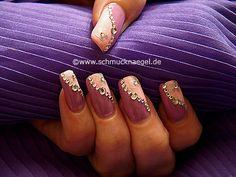 Nail art motivo 194 - Decoración de uñas con piedras strass y esmaltes - http://www.schmucknaegel.de/