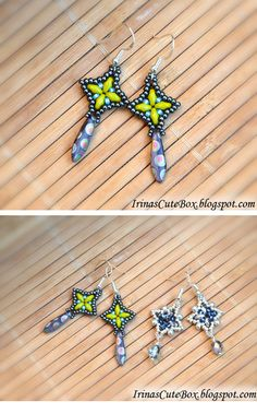 A tutorial for these beaded earrings. Click to see the tutorial: http://irinascutebox.blogspot.com/2013/02/dangle-beaded-earrings-tutorial.html