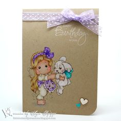 handmade birthday card from Little Butterfly Creations ... kraft with beautiful coloring ...  Prismacolor pencils seem to glow on kraft ... one layer ... sweet Matilda with bunny image ... fabulous card!