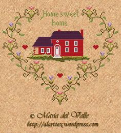 Home Sweet Home in a heart; free counted cross stitch sampler pattern in color with DMC color key; from France; chart is beautiful and easy to follow.